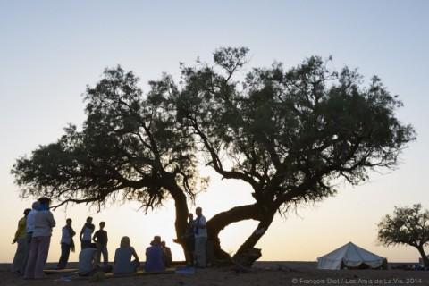 Célébration eucharistique au couchant. (Photo François Diot, droits réservés)