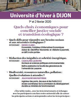 Université d'hiver à Dijon : COMPLET